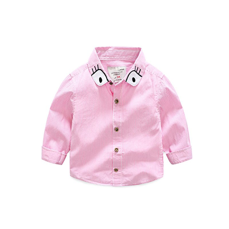aa8531b63 Cartoon Eyes Stripes Long sleeve Cotton Shirt for Toddlers Boys