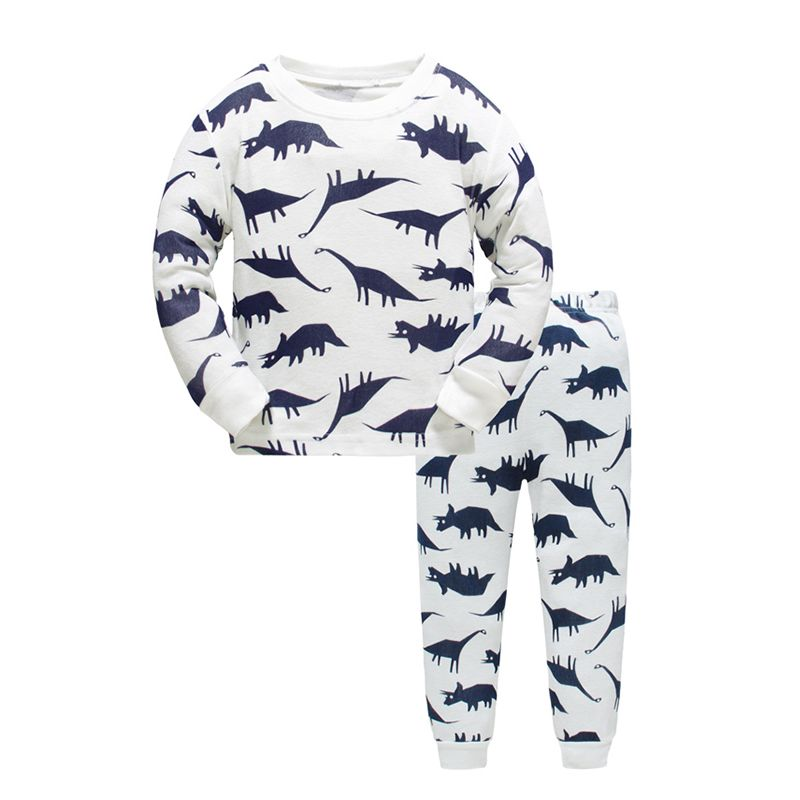 2-piece Dinosaurs Print Cotton Pajamas Set Long sleeve Top Trousers Pants Sleepwear Homewear for Toddlers Boys