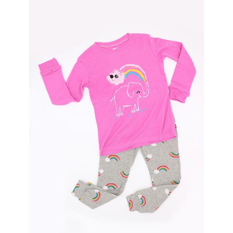 2-piece Rainbow Elephant Pajamas Set Long sleeve Top Pants Trousers Leisure Wear Sleepwear for Toddlers Girls