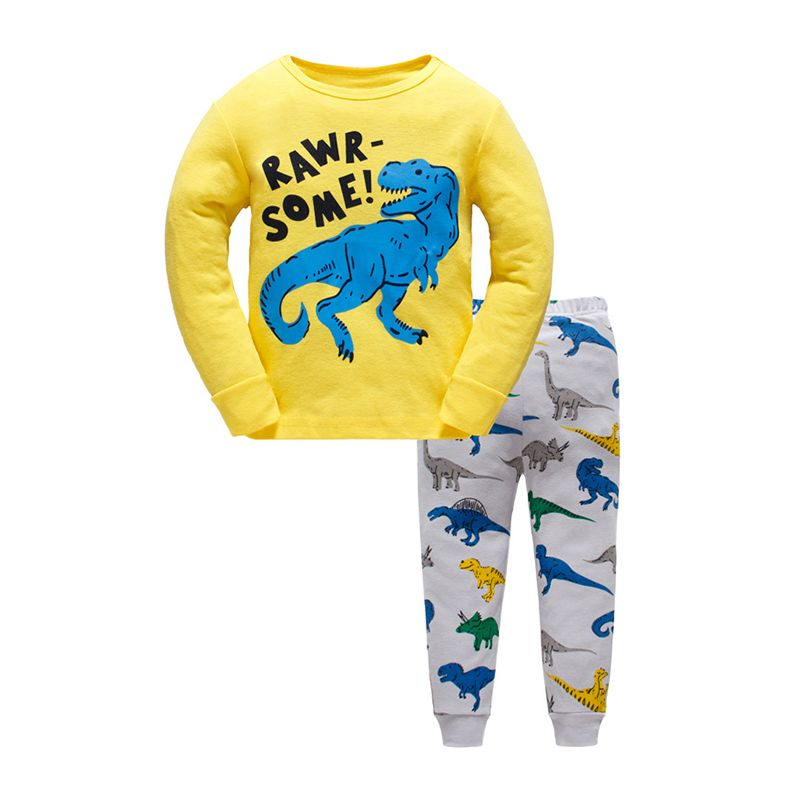 663da6ee6 2-piece Cool Dinosaurs Print Cotton Pajamas Set Long sleeve Top Trousers  Pants Sleepwear Homewear