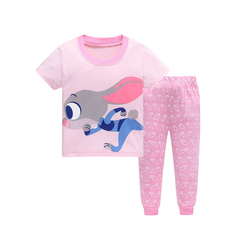 2-piece Cartoon Rabbit Pajamas Set Short sleeve Tee Pants Trousers Leisure Wear for Toddlers Girls