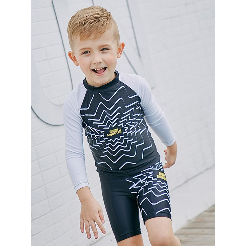 2-piece Top Shorts Boys Swimwear Set Quick-dry Sun Protective Boys Swimwear  - UPF 50+ Letters Spider Web Print Long Sleeves Sun Block Top