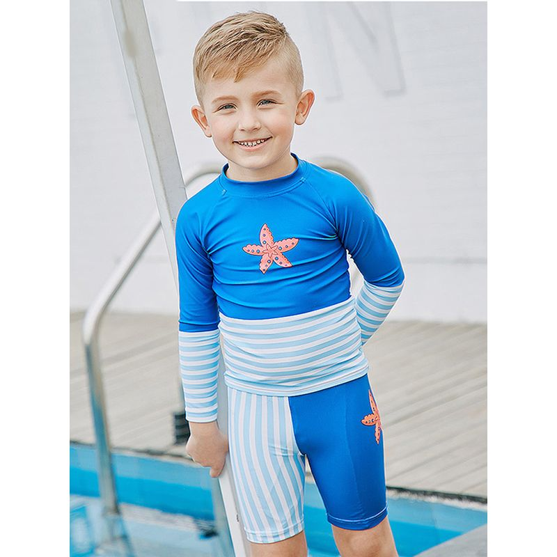 2-piece Starfish Print Stripes Top Shorts Boys Swimwear Set  Sun Protective Boys Swimwear  - UPF 50+ Long Sleeves Sun Block Quick-dry Top
