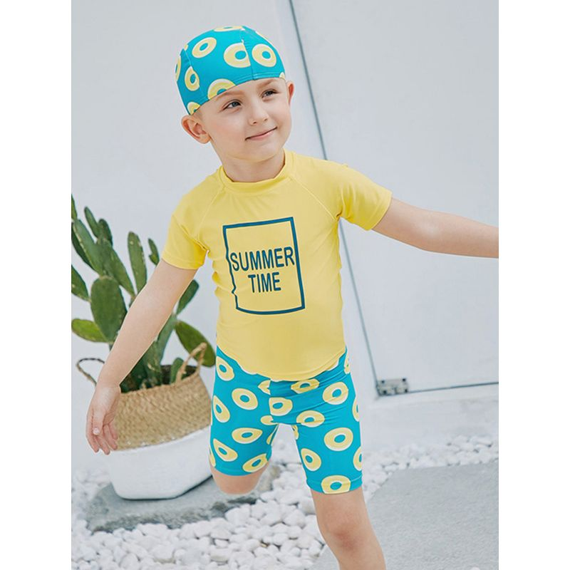 3-piece Hat Top Shorts Kids Swimsuit Set Sun Protective Boys Swimwear  - UPF 50+ Buoy Print Green Hat Shorts SUMMER TIME Print Short Sleeves Yellow Quick-dry Top