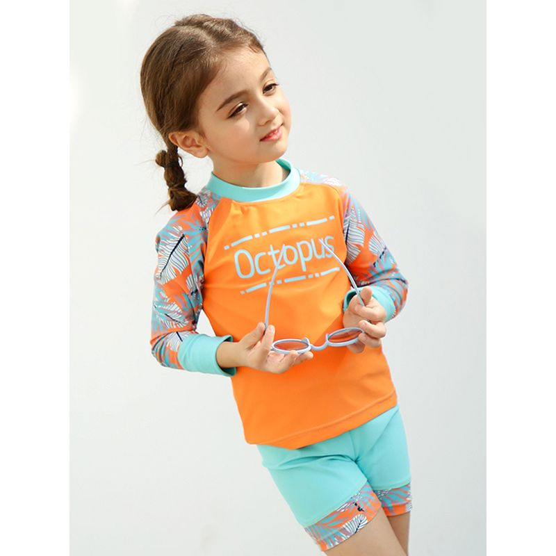 2-piece Top Shorts Kids Swimsuit Set Sun Protective Girls Swimwear  - UPF 50+ Letters Floral Print Quick-dry Long Sleeves Orange Top