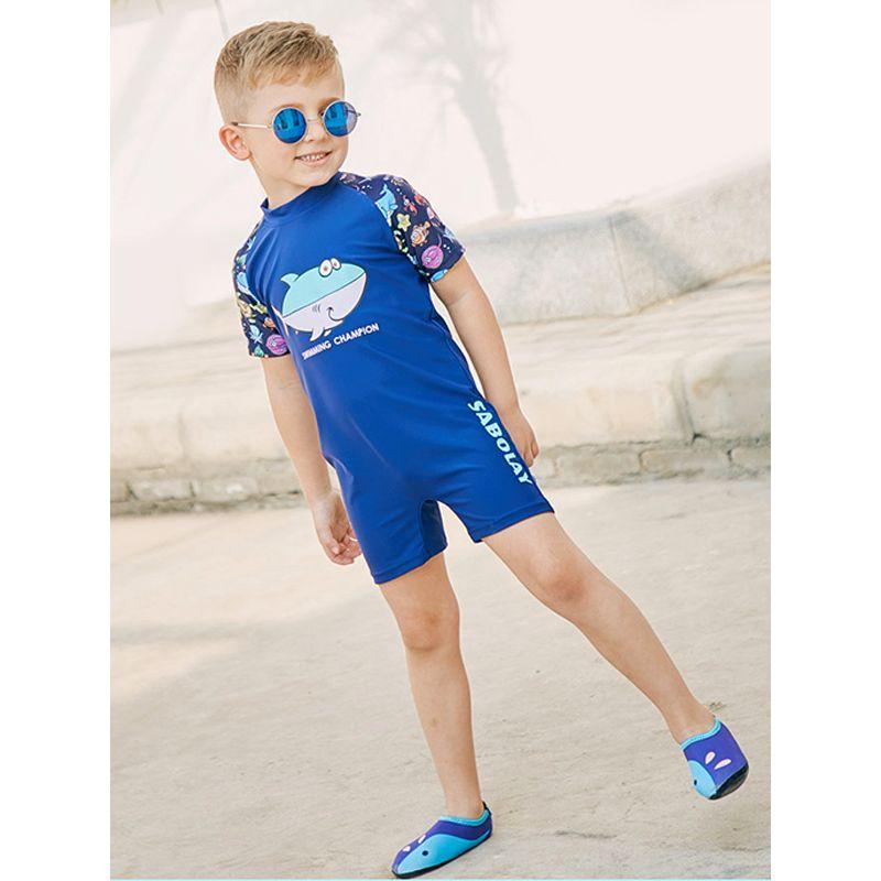 One Piece Marine Creatures Letters Print Blue Boys Swimsuit Sun Protective Kids Swimwear  - UPF 50+