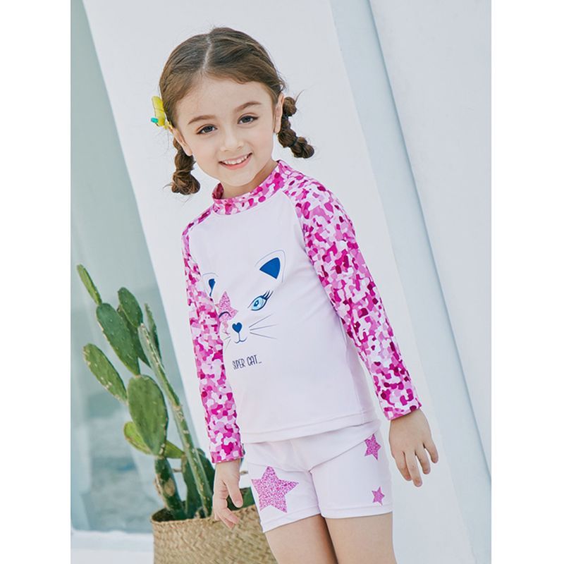 2-piece Cute Cat Stars Print Top Shorts Girls Swimsuit Set Sun Protective Kids Swimwear  - UPF 50+