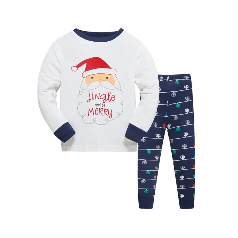 2-piece Christmas Santa Claus Print Cotton Pajamas Set Long sleeve Top Trousers Pants Sleepwear Homewear  Holiday for Toddlers Boys