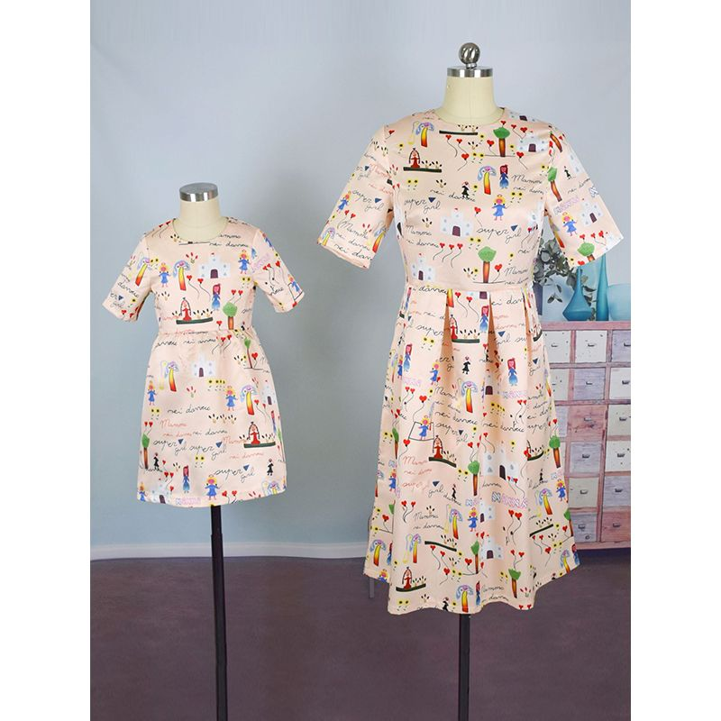 Mom and Me Cute Cartoon Prints Dress Short sleeve for Girls Mothers Round Color