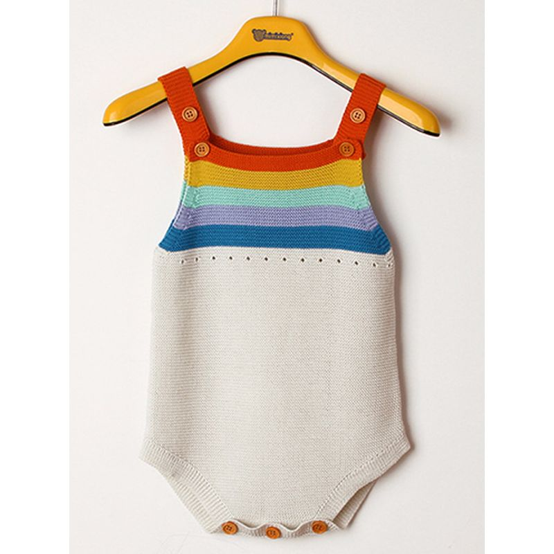 1ae0b8d7a Rainbow Stripes Knitted Baby Suspender Onesies Romper Bodysuit
