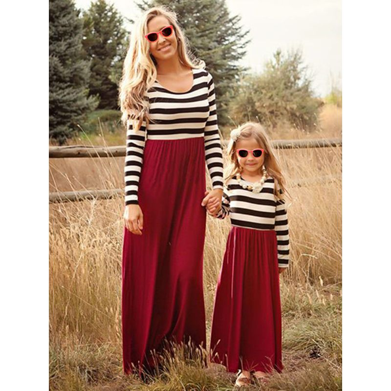 Mom and Me Paneled Striped Print Maxi Dress Long sleeve for Girls Mothers