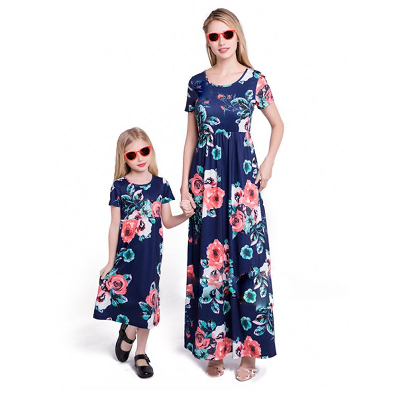 Mom and Me Paneled Floral Print Maxi Dress Short sleeve for Girls Mothers