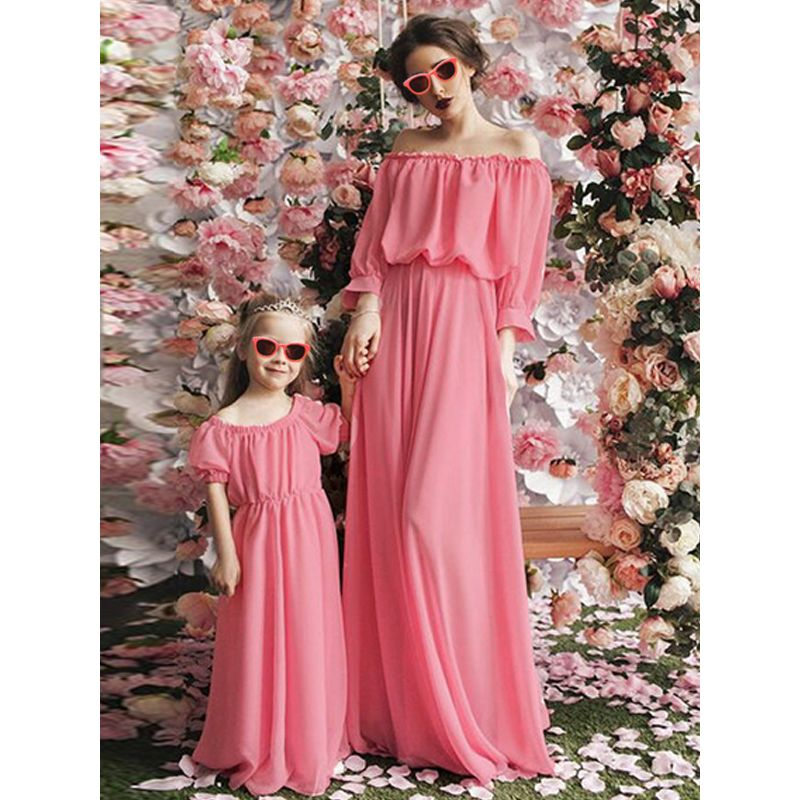 Mom and Me Solid Color Off shoulder Dress puff sleeve for Girls Mothers