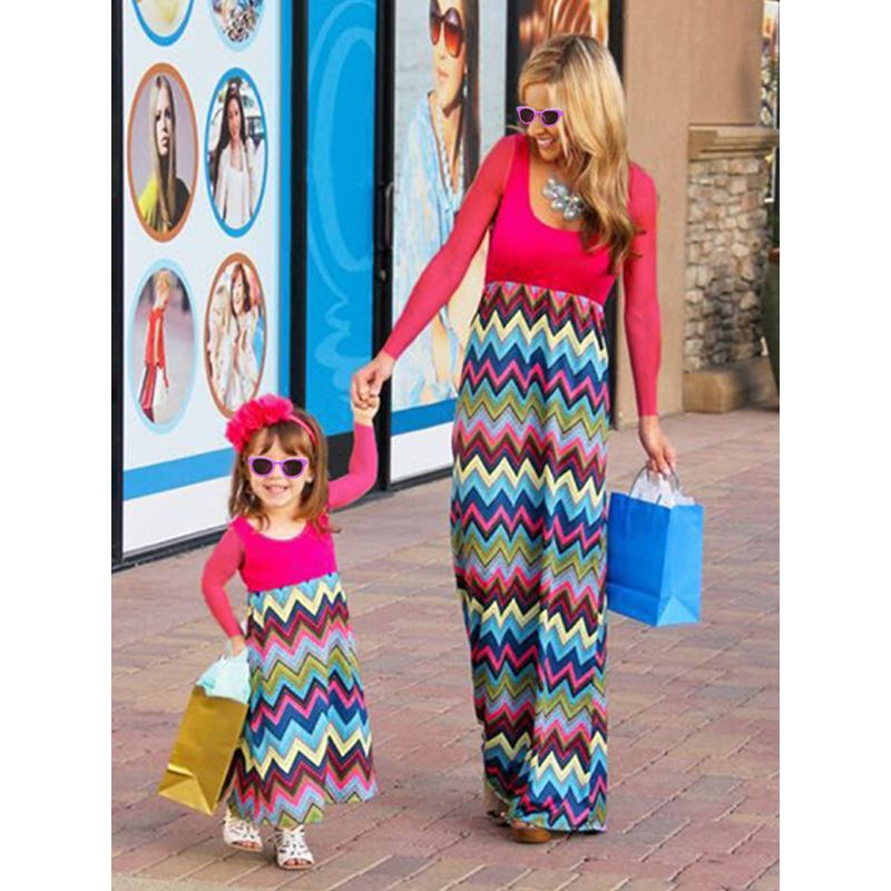 Mom and Me Paneled Waves Print Long sleeve Dress for Girls Mothers