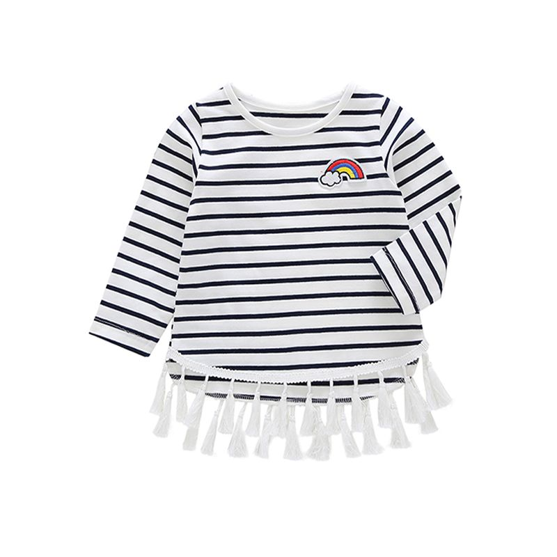 Rainbow Black and White Stripes Tassels Baby Toddler Girls T Shirt Top