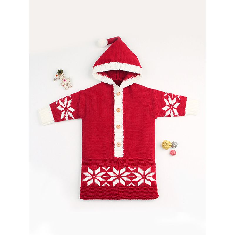 Snowflakes Print Buttoned Long Sleeves Baby Sleeping Bag Wrapper
