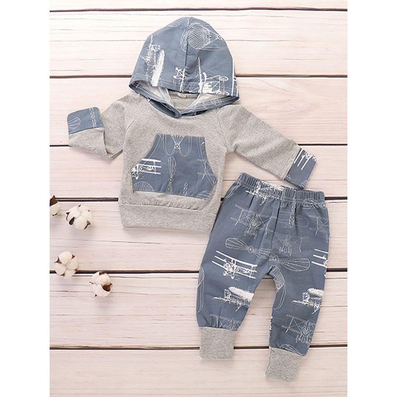 2-piece Airplanes Print Hoodie Pants Baby Set Long Sleeves Grey Pockets Top
