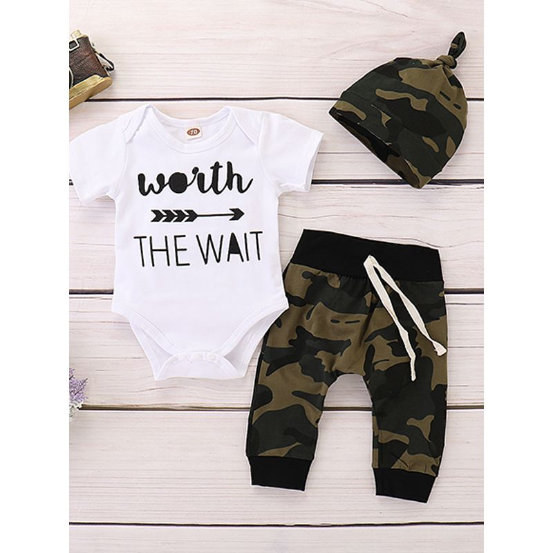 3-piece Letters Arrows White Top Camouflage Hat Pants Baby Set
