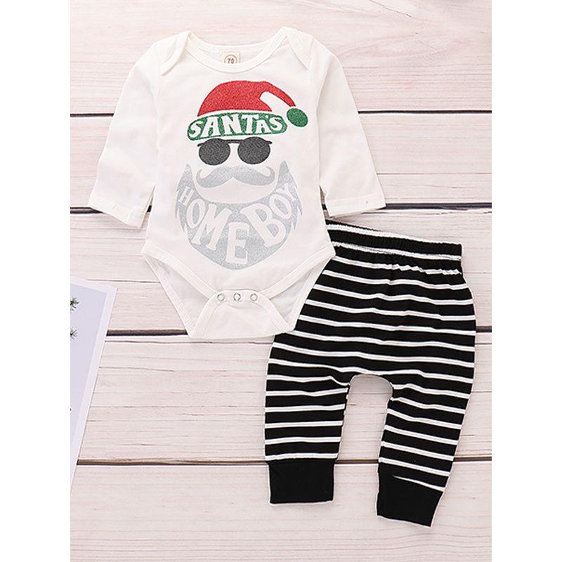 2-piece Christmas Santa Head Letters Print White Bodysuit Black and White Stripes Pants Baby Set