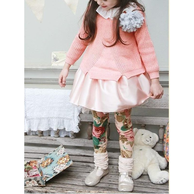 Peony Flowers Print Toddler Girls Leggings Cotton Leisure Pants