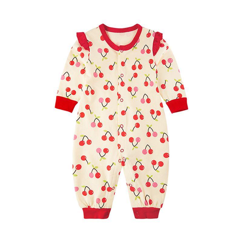 Cherries Print Cotton Romper Long sleeve Jumpsuit Pajamas for Baby Girls NEWBORN