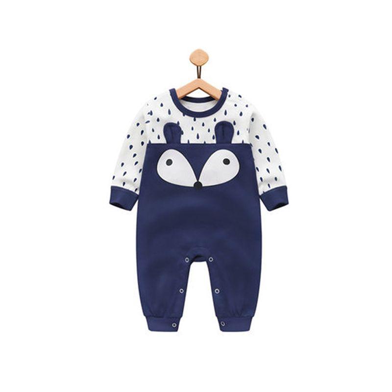 Blue Cute Fox Dots Cotton Romper Long sleeve Jumpsuit for Baby Boys NEWBORN