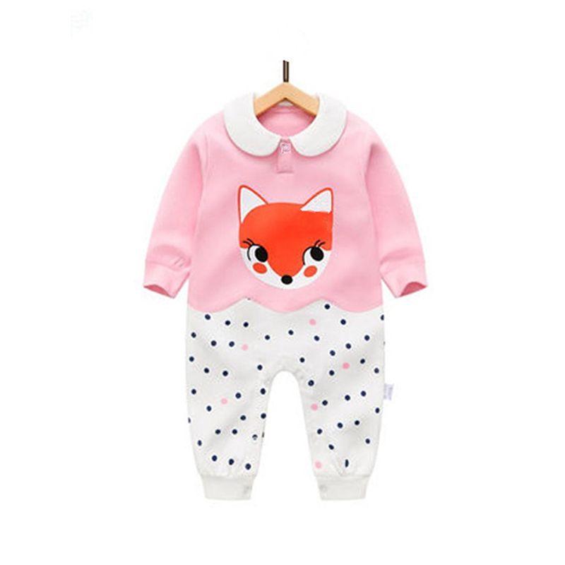 Color Block Cute Fox Dots Print Cotton Romper Long sleeve Jumpsuit for Baby Girls NEWBORN