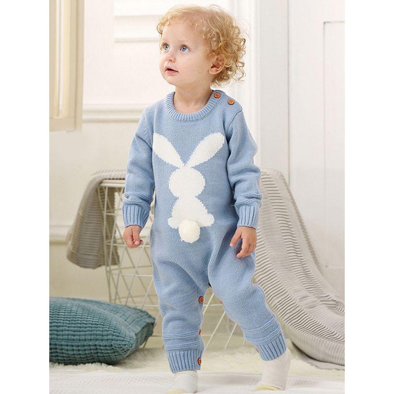 3315d9ead932 Rabbit Knitted Long Sleeves Acrylic Baby Romper Jumpsuit Onesies