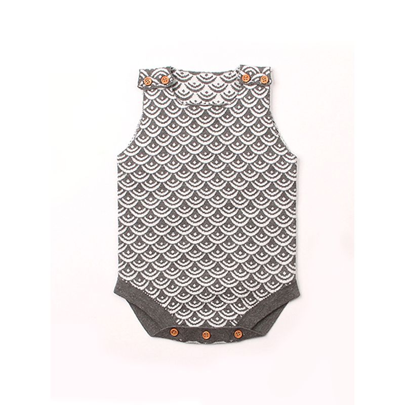 Fish Scales Knitted Sleeveless Baby Romper Bodysuit Onesies