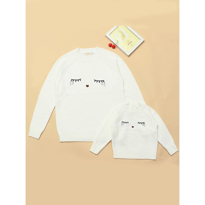 MOM and ME Cute  Cartoon Eyelash Knitted Cotton Sweater Long sleeve for Kids Moms