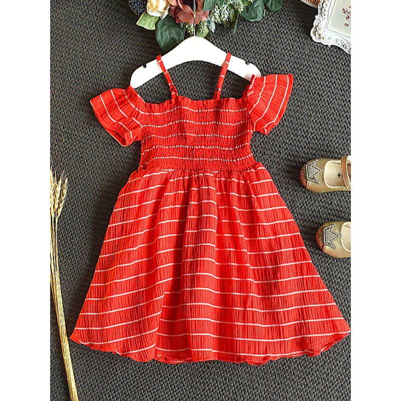 MOMMY and ME Red Strapped Dress Stripes Short Sleeve for Girl/Mom Party Holiday Shopping