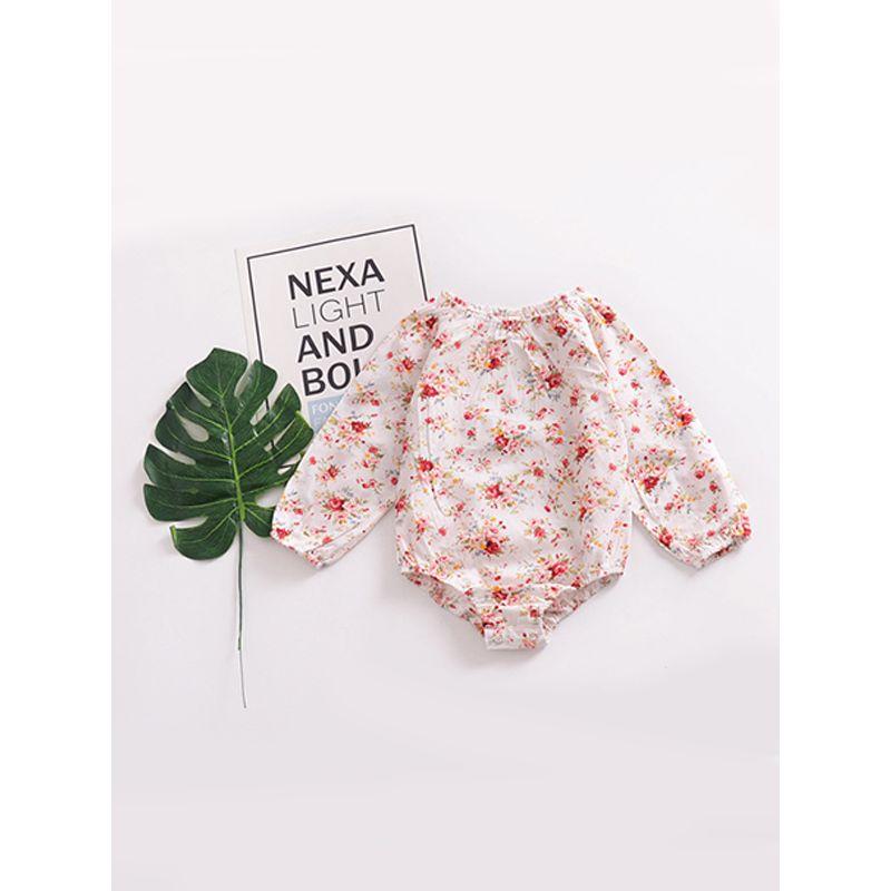 Flower Romper Onesie for Baby Toddler Girl Cotton Infant Bodysuit with Long Sleeves