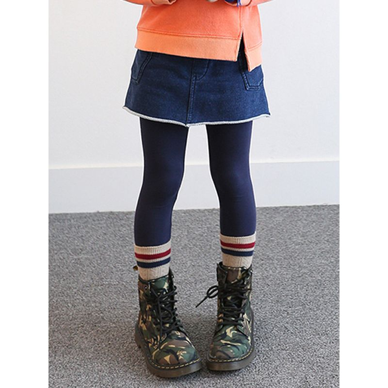 Deepblue Cotton Pockets Toddler Girls Denim Pantskirts Culottes Leggings
