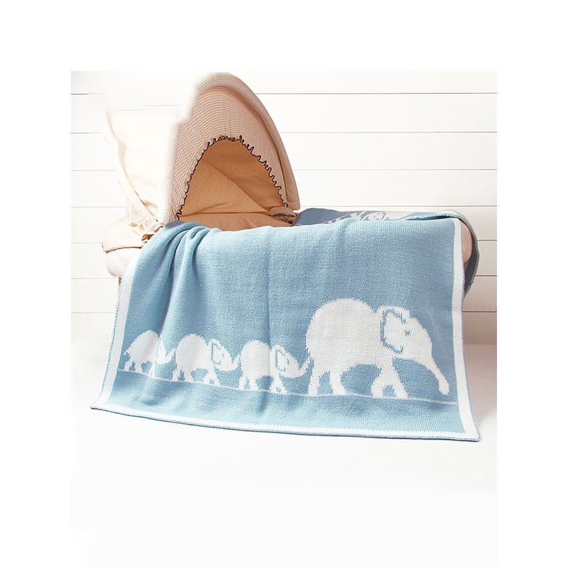 Elephants Knitted Baby Toddler Acrylic Blanket