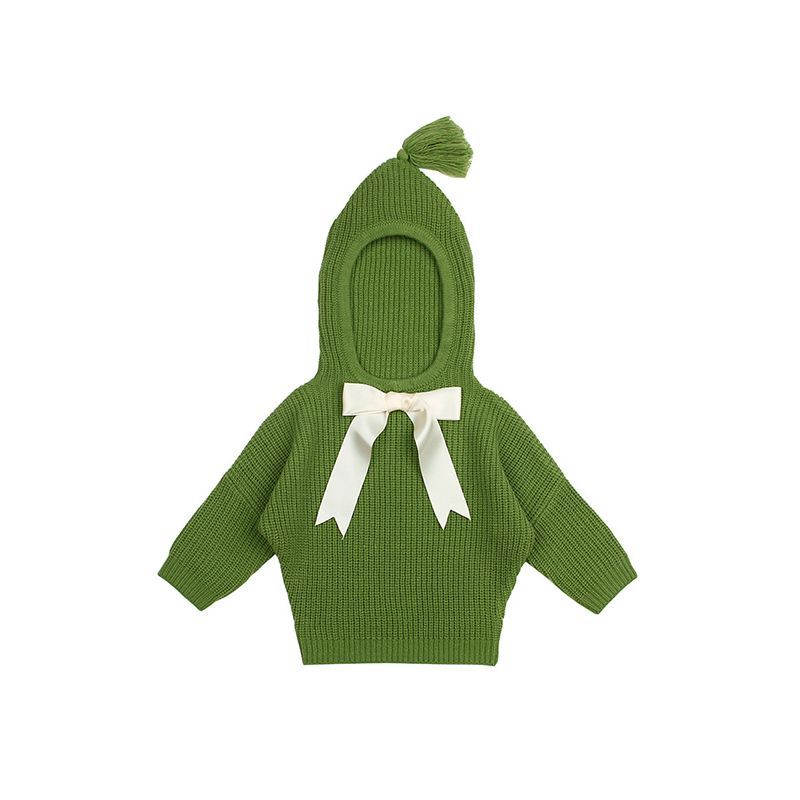 Bowknot Long Sleeve Baby Hoodie Sweater Knitted Wing Suits