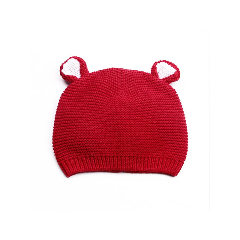 Cute Ears Knitted Cotton Solid Color Baby Hat Calotte