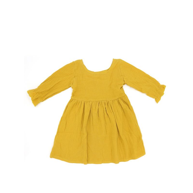 Yellow Cotton Linen Dress Long sleeve for Toddlers Girls Solid Color