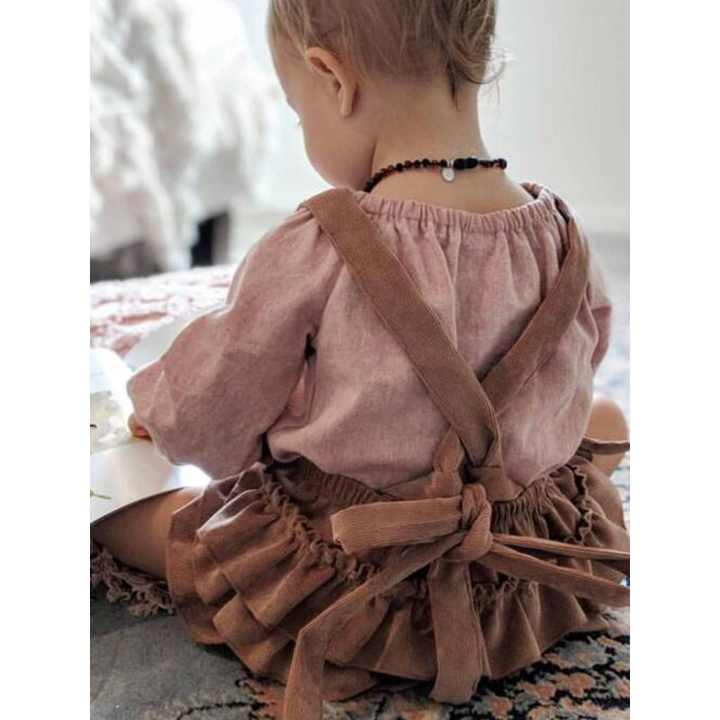 Green Strapped Corduroy Backless Romper Solid Color Bodysuit for Baby Girls