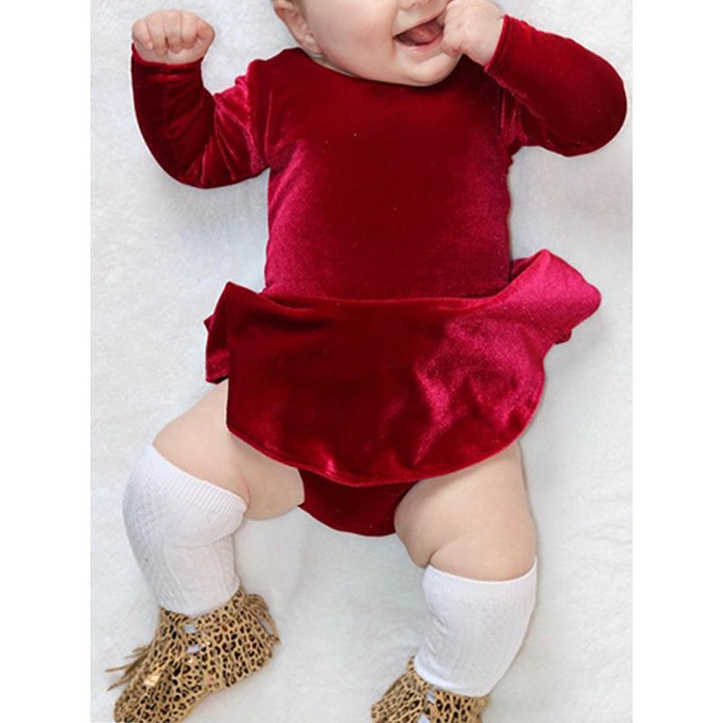 5e33c477803 Xmas Red Ruffle Rompers for Toddlers Long Sleeve Baby Girls Bodysuit Solid  Colour