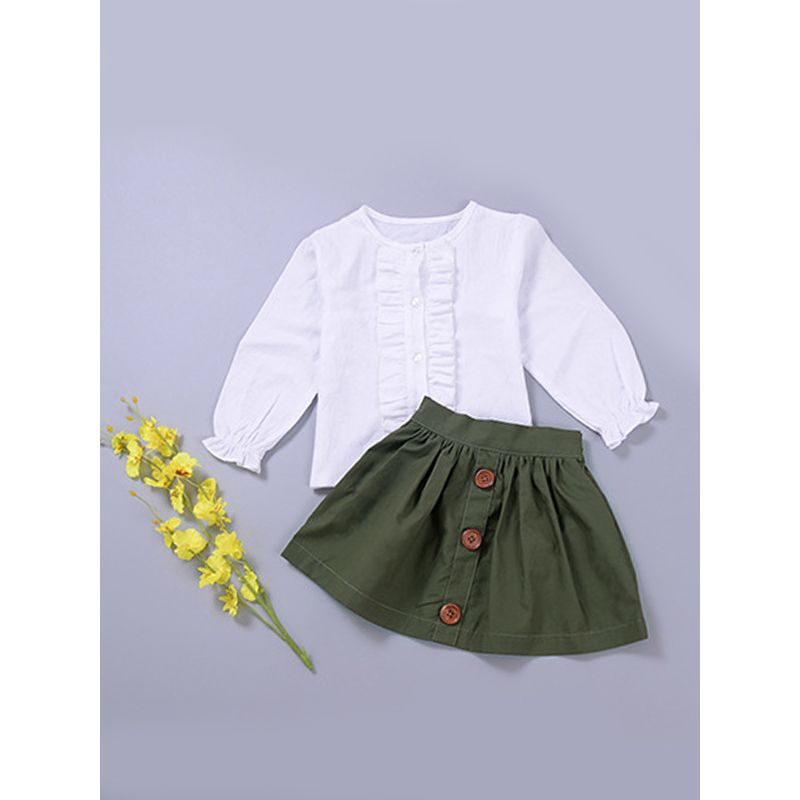aca9d130c37 2-Piece Cute Ruffled Cuff White T-Shirt Top and Army Green Buttons Skirt