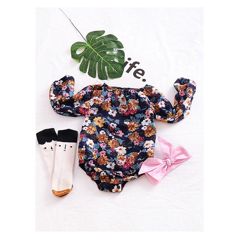 cb230ee2b O Elastic Neck Floral Infant Romper Long Sleeve Toddler Baby Girl Bodysuit