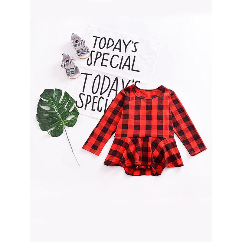 Plaid Baby Girl Long Sleeve Romper Comfortable Little Kids Bodysuit