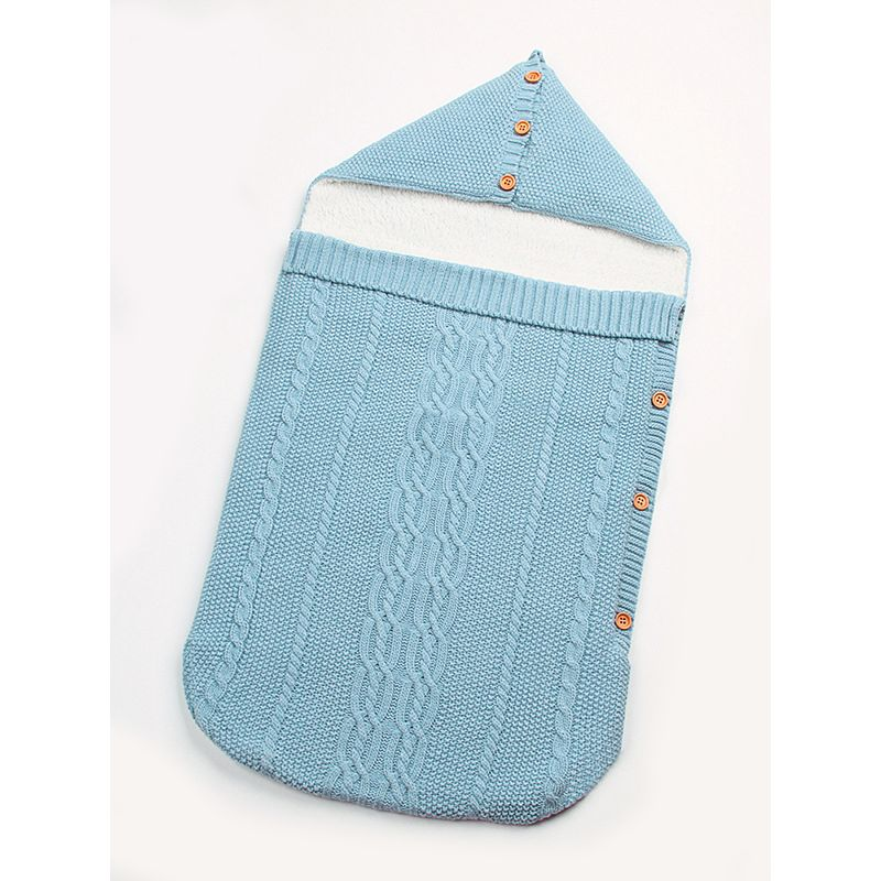 Fleece Lined Solid Color Knitted Baby Sleeping Bag