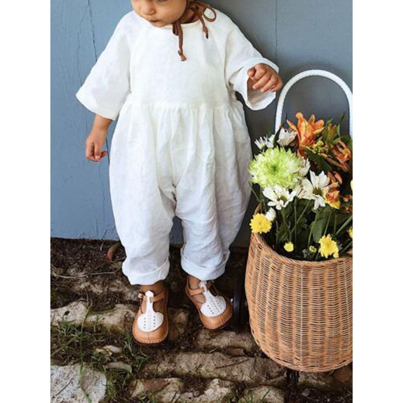 White Cotton Long sleeve Loose Jumpsuit for Baby Girls Boys Leisure time Onesie