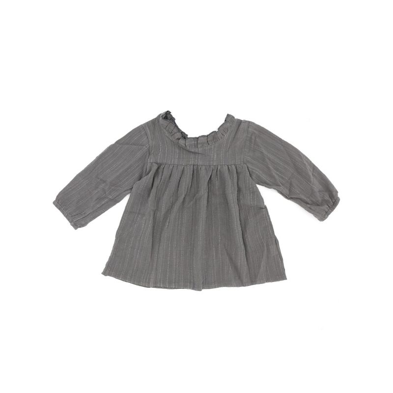 Japanese Style Ruffled Collar T-shirt Pullover Top for Baby Toddler Big Girls Purple/Grey