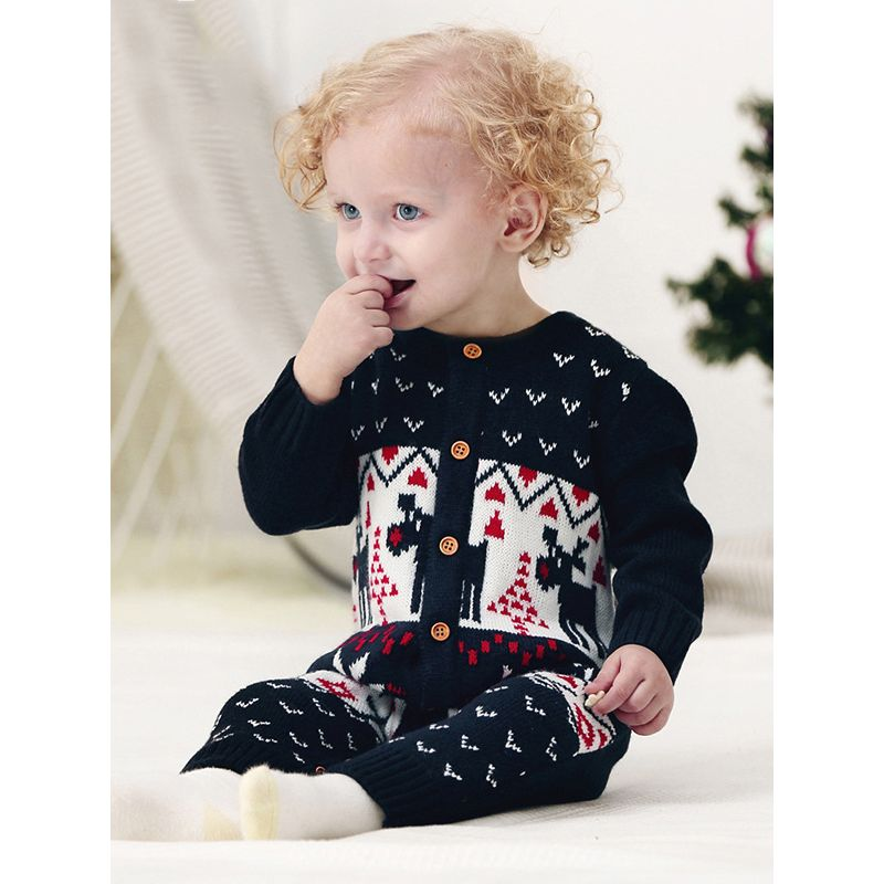 Christmas Deer Birds Knitted Long Sleeves Baby Romper Onesies Jumpsuit
