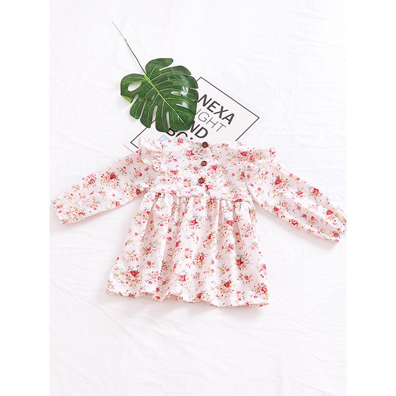 Cute Floral Flutter Long Sleeve Dress Little Kids Casual One-Piece Dress