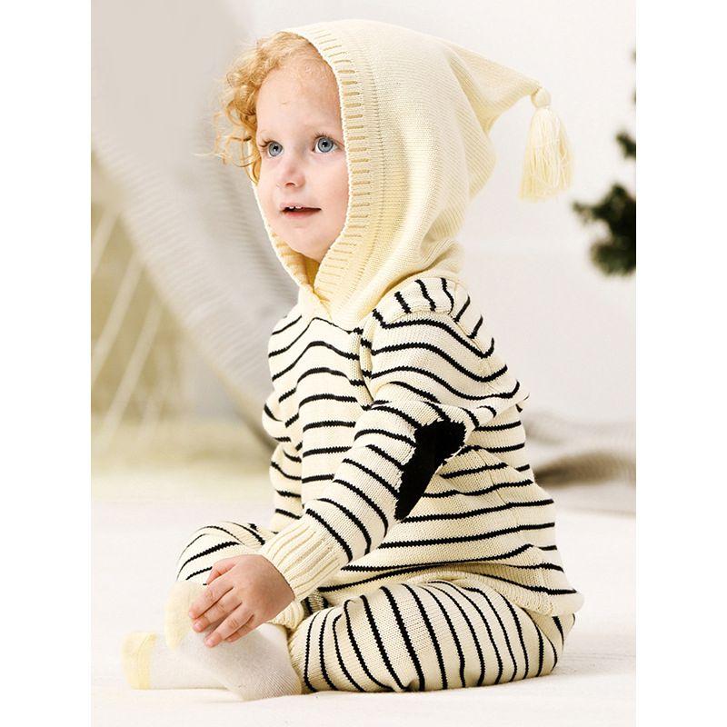 2-piece Stripes Knitted Long Sleeve Hoodie Top Pants Baby Set