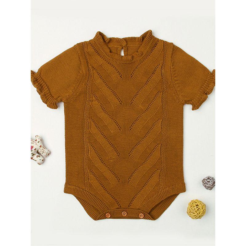 Short Sleeves Solid Color Baby Girls Romper Onesies Bodysuit