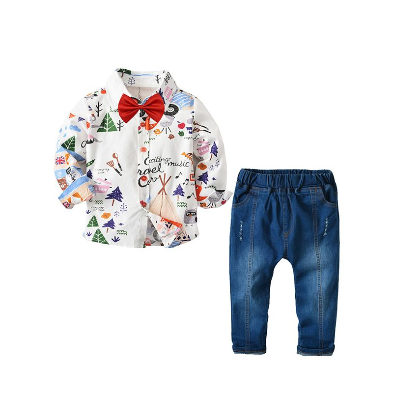 3-piece Printed Long Sleeve Shirt and Elastic Waist Jeans and Red Bowtie Set Outfits for Baby Big Boys